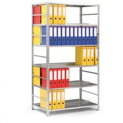 Regał na segregatory COMPACT, ocynk, 7 półek, 2200x1000x600 mm, podstawowy