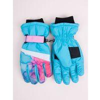 Odzież do sportów zimowych, Rękawiczki narciarskie damskie niebieskie tie dye 18