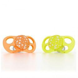 Smoczki uspokajające Twistshake Mini 0m+ - pomarańczowy/żółty 2szt 7350083120847