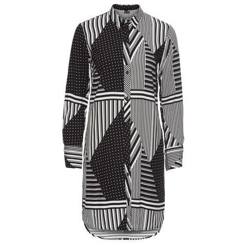 Bluzki, Długa bluzka bonprix czarny z nadrukiem