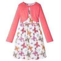 Zestawy odzieżowe dziecięce, Sukienka + pasek + bolerko (3 części) bonprix biało-jasnoróżowy wzorzysty