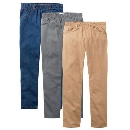"""Spodnie dziecięce, Luźniejsze spodnie chłopięce z gumką w talii (3 pary w opak.) bonprix dymny szary + cappuccino+ niebieski """"stone"""