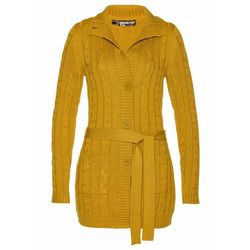 Długi sweter rozpinany bonprix żółty musztardowy