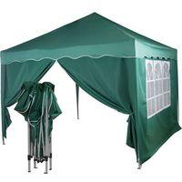 Namioty ogrodowe, EKSPRESOWY ZIELONY PAWILON NAMIOT OGRODOWY 3X3M + 2 ŚCIANKI - Zielony