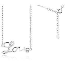 Rodowany srebrny naszyjnik LOVE miłość cyrkonia cyrkonie celebrytka srebro 925 Z1769N