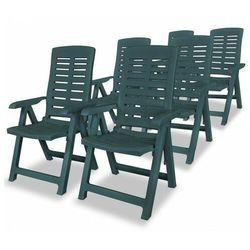 vidaXL Rozkładane krzesła ogrodowe, 6 szt., plastikowe, zielone