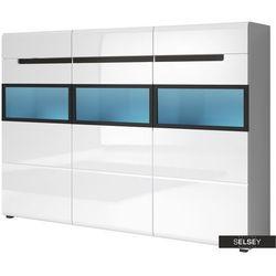 SELSEY Barek Kanopus wysoki ze szklanymi frontami biały 2114 PLN