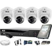Pozostałe systemy alarmowe, ZM11973 4 kamery zewnętrzne wewnętrzne BCS-DMQE1500IR3-B BCS-XVR04014KE-II 1TB