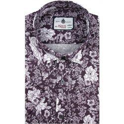 Koszula Męska Big Paris bordowa w kwiaty SLIM FIT na krótki rękaw K880