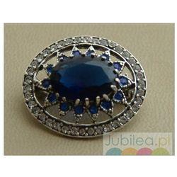 LIRIA - srebrna brosza z szafirami i kryształkami