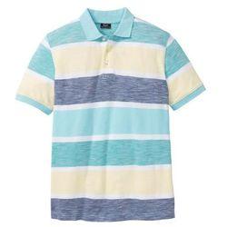 Shirt polo w paski ze specjalnym krojem na wys. brzucha bonprix turkusowy w paski