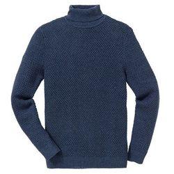 Sweter z golfem Regular Fit bonprix ciemnoniebieski melanż