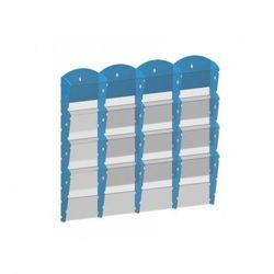 Plastikowy uchwyt ścienny na ulotki - 4x4 A4, niebieski