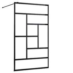 Ścianka prysznicowa w industrialnym stylu SEFANA - 120x200 cm - kolor czarny