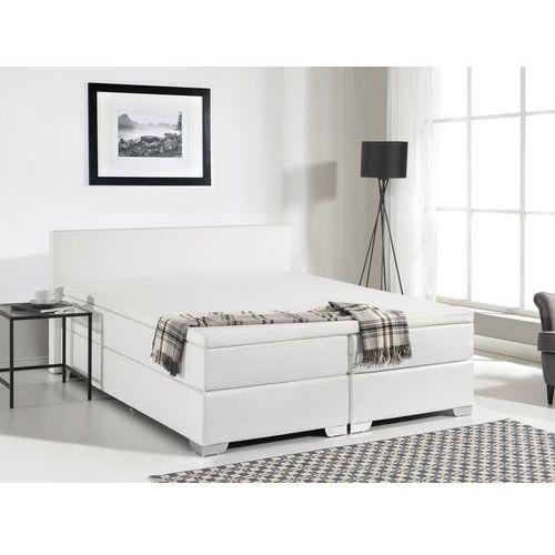 łóżko Kontynentalne 160x200 Cm Skóra Ekologiczna President Białe