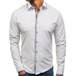 Koszula męska w kratę z długim rękawem biało-bordowa Bolf 8812