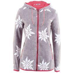 Bluza rozpinana z polaru w stylowy biały wzór bonprix antracytowy melanż