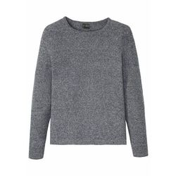 Sweter z bawełny z recyklingu bonprix ciemnoniebiesko-szary melanż