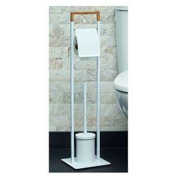 Zestaw WC NIKOLAOS: uchwyt na papier i szczotka WC – metal i bambus – kolor biały i drewna