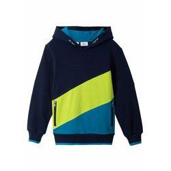 "Bluza chłopięca z kapturem ""colour-blocking"" bonprix ciemnoniebiesko-ciemnoturkusowo-zieleń łąki"