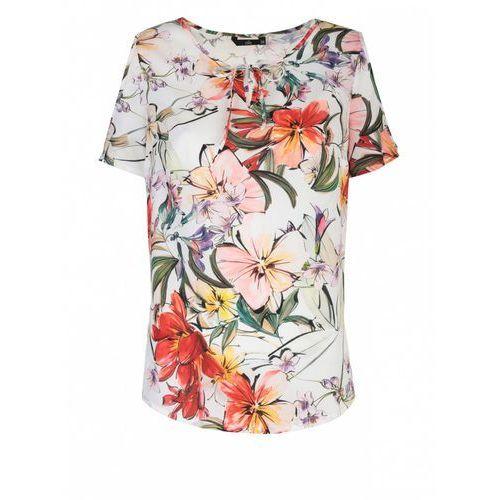 Bluzki, Bluzka z wycięciami na ramionach - kwiaty/ecru - B99