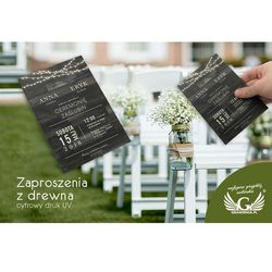 Zaproszenia ślubne z drewna - cyfrowy druk UV - ZAP021