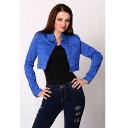 3616-2 Jeansowa kurteczka na guziki, krótka - chabrowy XL 75% Bawełna, 23% Poliester, 2% Elastan