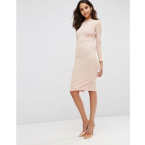 Suknie i sukienki, ASOS Bodycon Dress with Sexy Seam Detail in Rib - Pink