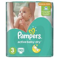 Pieluchy jednorazowe, Pampers Active Baby 3 Midi (4-9 kg) Giant Pack - 90 szt.