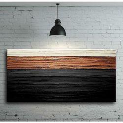 elegancka czerń z miedzią - nowoczesny obraz abstrakcyjny z grubą strukturą rabat 15%