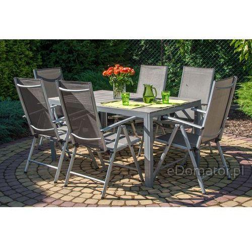 Stoły ogrodowe, Stół ogrodowy aluminiowy MODENA - Srebrny - srebrny