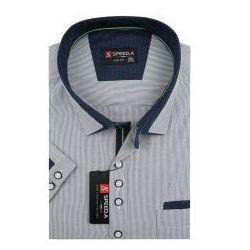 Koszula Męska Speed.A szara w białe paski na krótki rękaw duże rozmiary K693