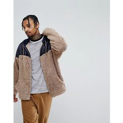 ASOS Oversized Zip Up Hoodie With Woven And Borg Panelling - Beige