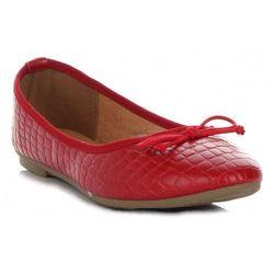 Eleganckie Balerinki Damskie we wzór aligatora marki Bellucci Czerwone (kolory)