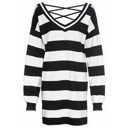 Długa bluza dresowa bonprix czarno-biały w paski