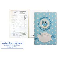 Okładka etui na książeczkę zdrowia dziecka, PVC - 3-błękitna sówka i groszki