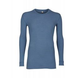 Koszulka męska z wełny merynosów (100%) - długie rękawy; dopasowana, delikatny prążkowany splot - ciemnoniebieska - DILLING