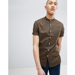 ASOS DESIGN casual skinny fit oxford shirt with grandad collar in khaki - Green
