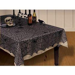 Obrus czarny w pajęczyny na Halloween 152 x 213 cm - 1 szt.