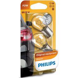 ZESTAW 2x Żarówka samochodowa Philips VISION 12498B2 P21W BA15s/21W/12V