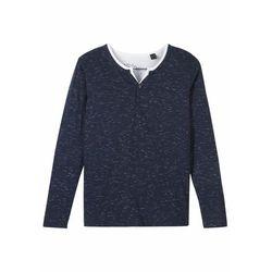 Shirt z dekoltem henley w optyce 2 w 1 bonprix ciemnoniebiesko-biały melanż