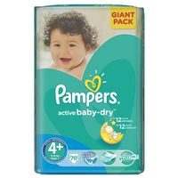 Pieluchy jednorazowe, PAMPERS Active Baby 4+ MAXIPLUS 70 szt.(9-16kg) GIANT PACK – pieluszki jednorazowe