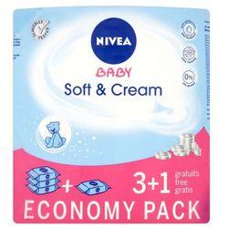 NIVEA 4x63szt Baby Soft&Cream 3+1 Chusteczki pielęgnacyjne dla dzieci i niemowląt