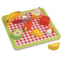 Zabawki z drewna, Janod - Warzywa i owoce zestaw do krojenia drewniany magnetyczny