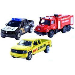 Majorette Pojazdy SOS 3 sztuki wóz strażacki radiowóz pojazd patrolu plażowego