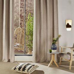 Elegancka zasłona Chenil, kolor lniany, wykonana z poliestru, wymiary 260 x 140 cm, idealne połączenie prostoty i elegancji, solidnie wykonana