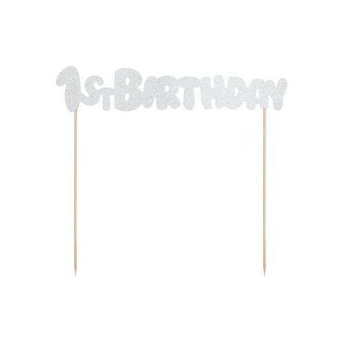Pozostałe wyposażenie domu, Topper na tort 1st Birthday srebrny - 19,5 cm