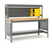 Stoły warsztatowe, Stół warsztatowy COMBO, z panelem narzędziowym, oświetleniem i szafką, dąb
