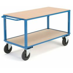 Wózek warsztatowy, bez hamulców, 2 koła skrętne, 600 kg, 1400x700x830 mm