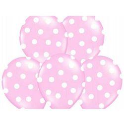 Balony jasnoróżowe w białe kropki - 37 cm - 50 szt.
